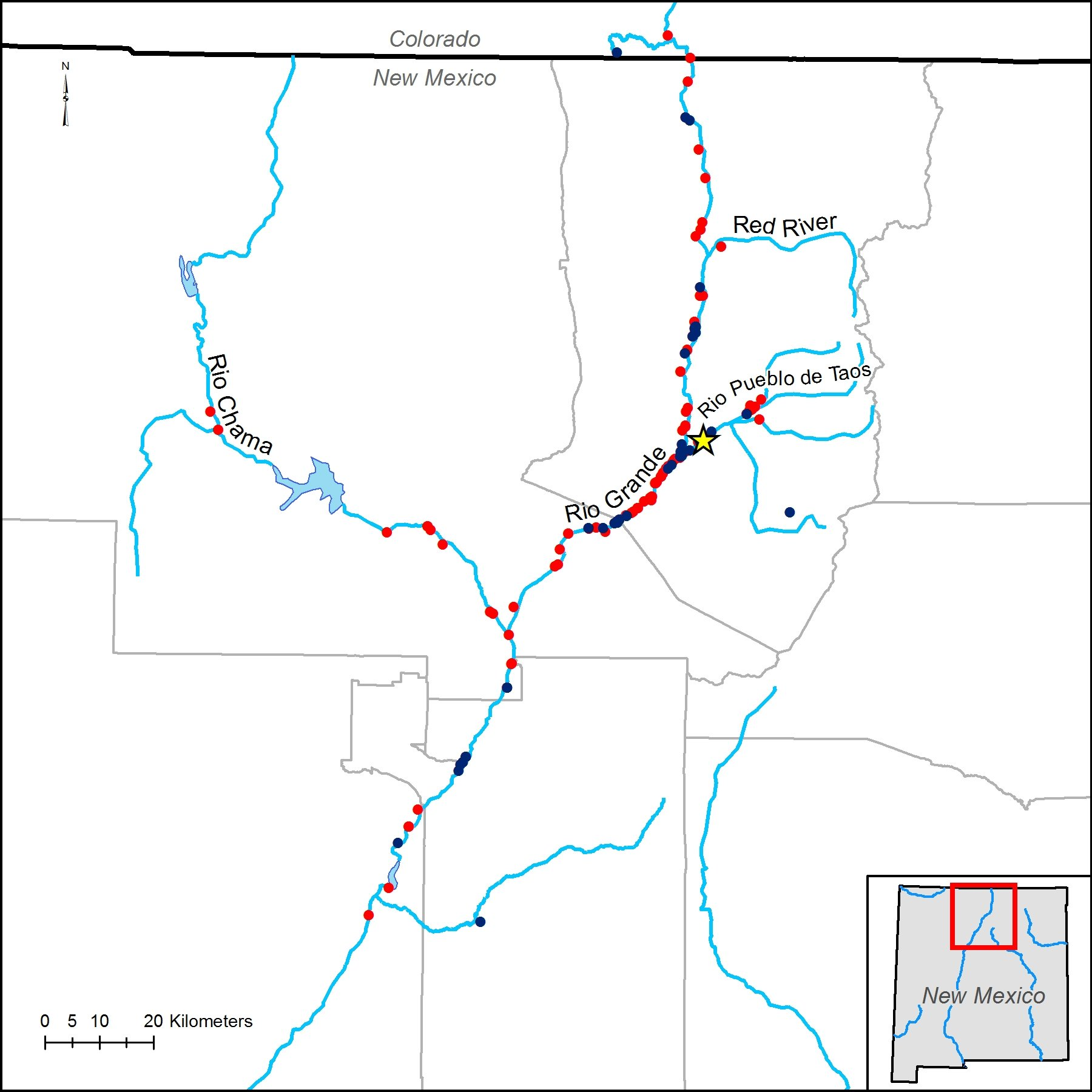 Rio Grande River New Mexico Map.Savage M And Klingel J 2015 Citizen Monitoring After An Otter